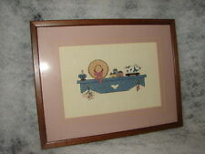 Vintage Completed Needlepoint Country Mantle Picture  Nice Work