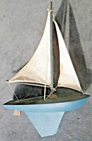Old WOODEN Sailing MODEL SHIP BOAT NAUTICAL DECOR Beautiful POND yacht Unique GS