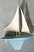 Old WOODEN Sailing MODEL SHIP BOAT NAUTICAL DECOR Beautiful POND racer Unique