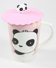 """4.5"""" Tall Quality Porcelain Ceramic Cute Panda Cup with a Silicone Lid"""