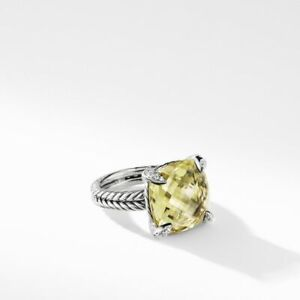 DAVID YURMAN Chatelaine Ring Lemon Citrine & Diamonds 11mm Sz 5 $700 Excellent!