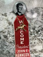 Vintage 1960s Welcome President John F. Kennedy Button w Ribbon JFK Democrat FDR