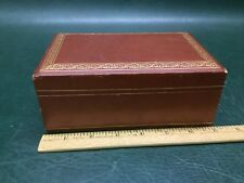 Vintage Embossed Leather Jewelry Box Chest Casket Satin Lined