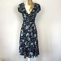 Nougat Dress Size 0 Approx 6 8 Black Floral Aline 100% Silk Fit Flare Occasion