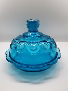 Vintage L E Smith Moon And Star Large Blue Round Covered Butter Cheese Dish 7 In