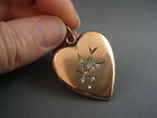 C.1940's Antique Rose Gold Heart Shape Picture Locket SWALLOW Symbol for LOVE