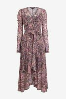 NEXT Pink Paisley Print Mesh Wrap Midi Dress Size 14 BNWT RRP £42 Wedding Party