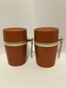 Vintage Pair Thermos Hot or Cold Food Container Orange Model 7002 10 oz