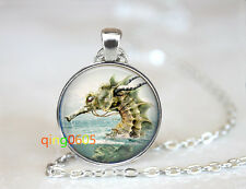Magical Sea Creature glass dome Tibet silver Chain Pendant Necklace wholesale