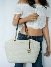 MICHAEL KORS JET SET TRAVEL MEDIUM CHAIN TOTE SHOULDERBAG MK VANILLA BROWN