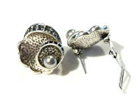 Bijou alliage argenté boucles d'oreilles perles et strass  earrings