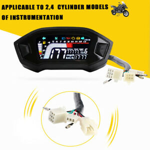 12V Universal Motorcycle Speedometer LCD Digital Odometer Guage For 2,4 Cylinder