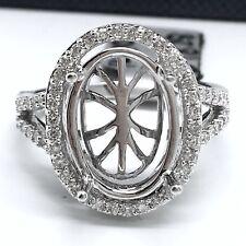 14k white gold halo oval diamond semi-mounting ring