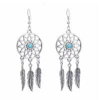 Women's Retro Earring Turquoise Dreamcatcher Dangle Drops Earrings Feathers B KC