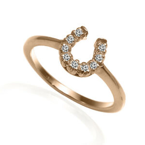 14k Solid Rose Gold G-SI1 Diamond Horseshoe Ring Sizes 4 to 9.5 #R1996