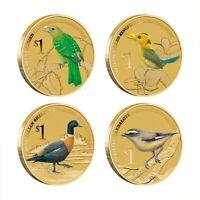 2013 Birds 4X Tuvalu $1 Coins Australian Kingfisher Songbirds Pardalote Shelduck