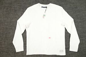CALVIN KLEIN JEANS WHITE LARGE WAFFLE STRETCH CREWNECK SWEATER MENS DEFECT