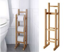 Bamboo Toilet Roll Holder Wooden Storage Stand Free Standing Stylish Bathroom