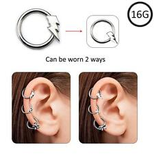 Ear Cartilage Hoop Surgical Steel Omni Bead Ring Daith Helix 2 Way Bolt 16G