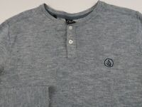 Volcom Mens Cotton Blend Long Sleeve Heather Blue Henley Thermal Sweater Small