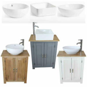 Bathroom Compact Vanity Unit | Solid Oak Sink Cabinet | Ceramic Basin Tap Plug