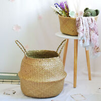 Seagrass Belly Basket - Natural Woven Rice Baskets Planter and Storage L