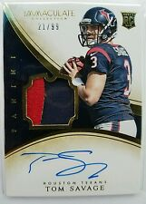 2014 TOM SAVAGE PANINI IMMACULATE RPA 21/99 AUTO 2 COLOR PATCH HARD SIGNED AUTO