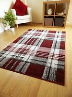 Small Large Modern Burgundy Red Tartan Highland Check Rugs Long Hall Runner Mats