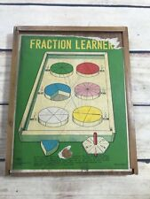 Fraction Learner Vintage Wood Math Mathematics Home School Learning Collectible