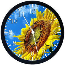 Sun Flower Black Frame Wall Clock Nice For Decor or Gifts Z175