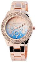 Excellanc Damenuhr Blau Rosègold Chrono-Look Quarz Armbanduhr X1800023008