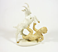"WALLENDORF, PUTTI BOY PLAYING WITH A GOAT 8"", HANDPAINTED PORCELAIN FIGURINE !"