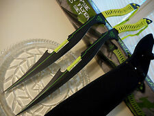 """Zombie Apocalypse Neon Flyers 2 Sword Machete Knife Set 440 SS W Sheath 26"""" OA"""