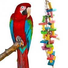 Funny Parrot Pet Bird Macaw Hanging Chew Toy Bells Wooden Blocks Swing Toys Ql