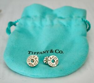 As New TIFFANY & CO 1837 Stg Silver Circular Stud Earrings Worn Once RRP $449