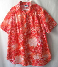 C.S.T. SPORT Red Pink Salmon Short Sleeve Button Blouse Top Womens Plus 1X