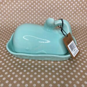 Creative Co-op Aqua/Blue-Green Ceramic Whale-Shaped Butter Dish with Lid
