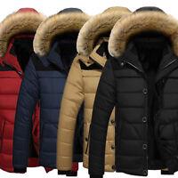 Chic Men's Fur Collar Hooded Parka Winter Thicken Jacket Warm Coat Short Outwear