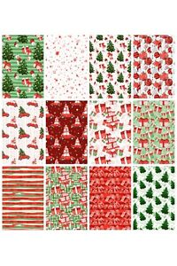 CHRISTMAS TREES/GIFTS/SANTAS BACKING PAPERS - 4/12 x A4 Sheets- 160gsm