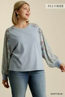 Umgee Blue Floral Paisley Raglan Sleeve Top Plus Size XL 1X