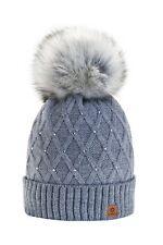 Winter Cappello Cristallo Più Grande Pelliccia Pom Pom invernale di lana (M8u)