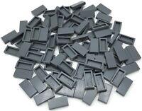 Lego 100 New Dark Bluish Gray Tiles 1 x 2 with Groove Pieces