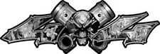"""Twin Piston Smoking Skull 4x4 Decals Gray Inferno Flames 13.5"""" REFLECTIVE 019"""