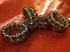 Set Of 4 Brown Glass Bead And Gold Tone Wire Napkin Rings Christmas
