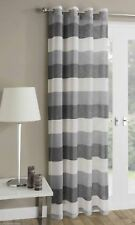Contemporary Striped Voile Net Curtain Panel Eyelet Ring Top All Sizes Stripes Sliver Grey 137 X 140cm / 55 X 54in