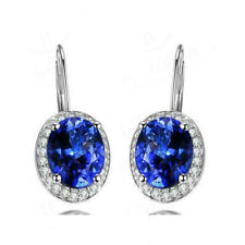 Natural Oval Cut AAAA Blue Tanzanite Diamond Women Earrings Solid 14K White Gold