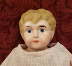 """Vintage/Antique German Minerva Metal/Tin Head 18"""" Doll Molded/Painted Hair/Face"""