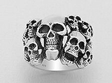 Mens 20mm Wide 17g Solid Sterling Silver Goth Skull Ring Size 10 PUNK ROCK