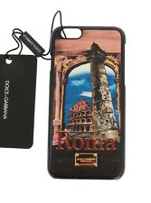 NEW $200 DOLCE & GABBANA Phone Case Skin Leather Roma Print Gold Logo iPhone6