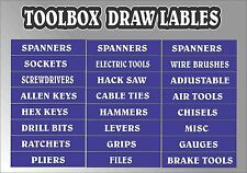 TOOLBOX  Drawer LABEL stickers decals ORGANISER